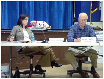 Searsport town attorney Kristin Collins and Planning Board Chairman Bruce Probert. (Photo by Ethan Andrews)